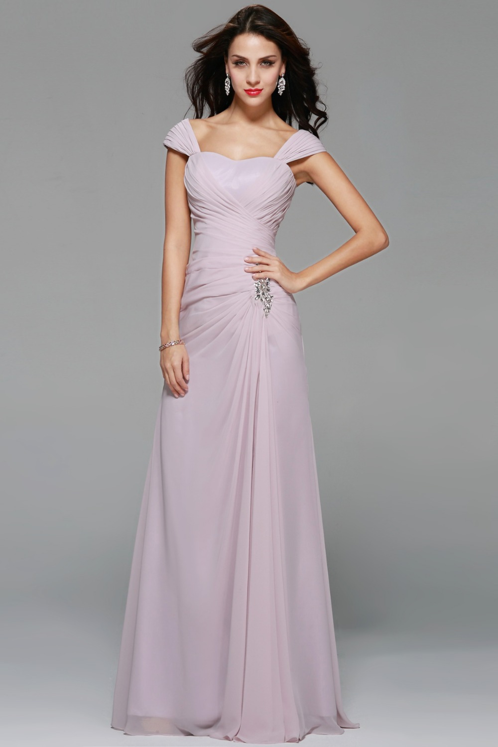 Charming Sexy Long Brautjungfer Kleid A-Line Liebsten Cap Sleeve ...