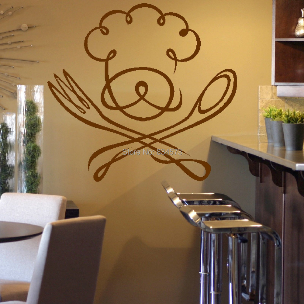 Chef spoon fork kitchen silhouette wall art sticker decal for Deco mural stickers
