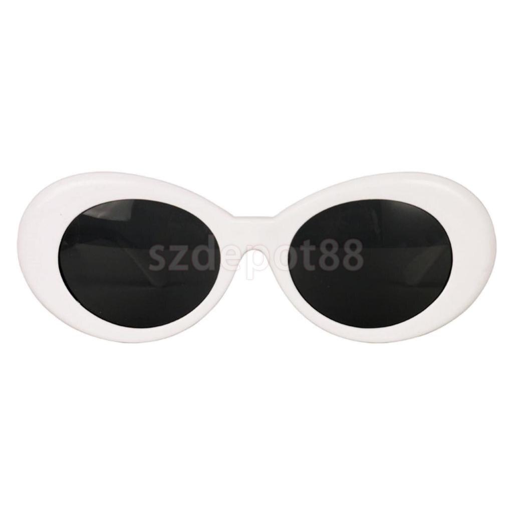 d4a01859e5138 Women s Accessories White Bold Retro Oval Mod Thick Frame Sunglasses Clout  Goggles Kurt Cobain Glass