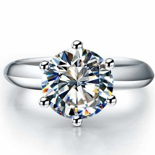 Amante satisfazendo jóias presente 3 quilates na moda estilo superior marca redonda brilhante sona diamantes sintéticos anel de noivado com caixa