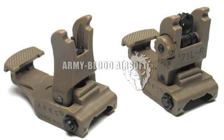 Тактический a.r.m.s.# 71L-F/R Комплект переднего и заднего вида черный DE - Цвет: Коричневый