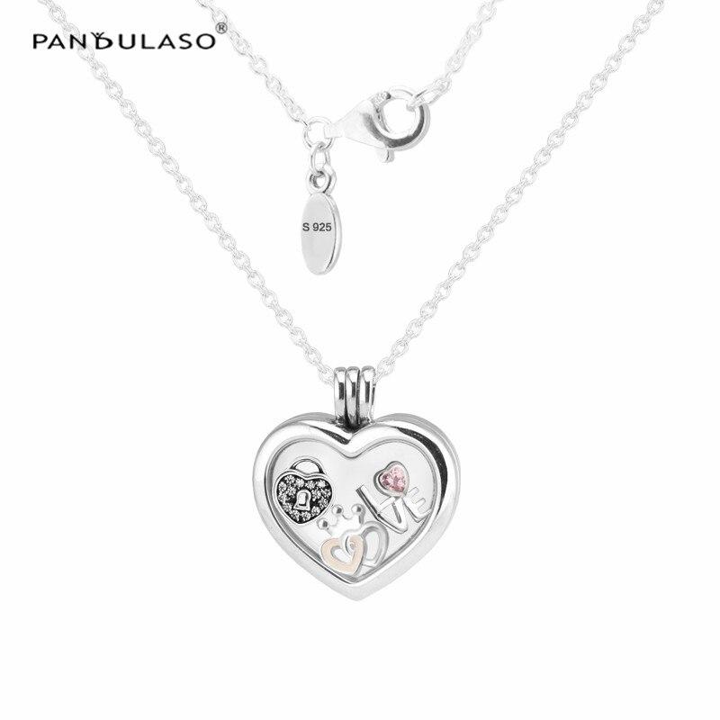 Pandulaso Heart Shape Floating Locket Medium Necklace 925 Sterling Silver Jewelry Elegant Necklace For Woman Fashion Jewelry