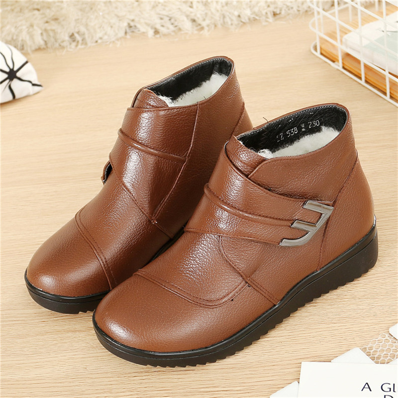 SNURULANNatural Wool Women Boots Genuine Leather Flat Ankle Boots Winter Warm Ladies Shoes Woman Snow Boots Plus Size E470-in Ankle Boots from Shoes    3
