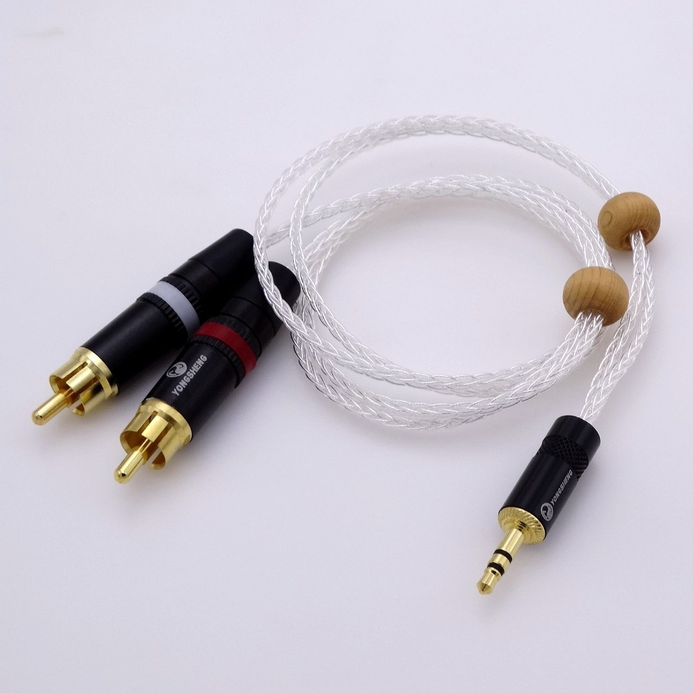 2M 16cores 5n OCC Silver Plated 1/8 3.5mm to 2 RCA Male DIY Hifi Audio Adapter Cable FOR Aux Car Stereo MP3 PC Phone iPod RCA jacques lemans jl 1 1852e