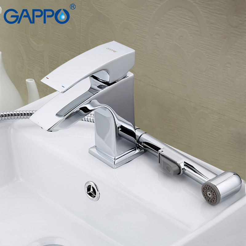 GAPPO Brass bathroom basin faucet Deck Mounted Cold Hot Water Mixer tap grifo hand shower set torneira de bano gappo water tap bathroom deck mount basin sink faucet torneira cold hot water mixer tap grifo bathroom faucet in hand shower set