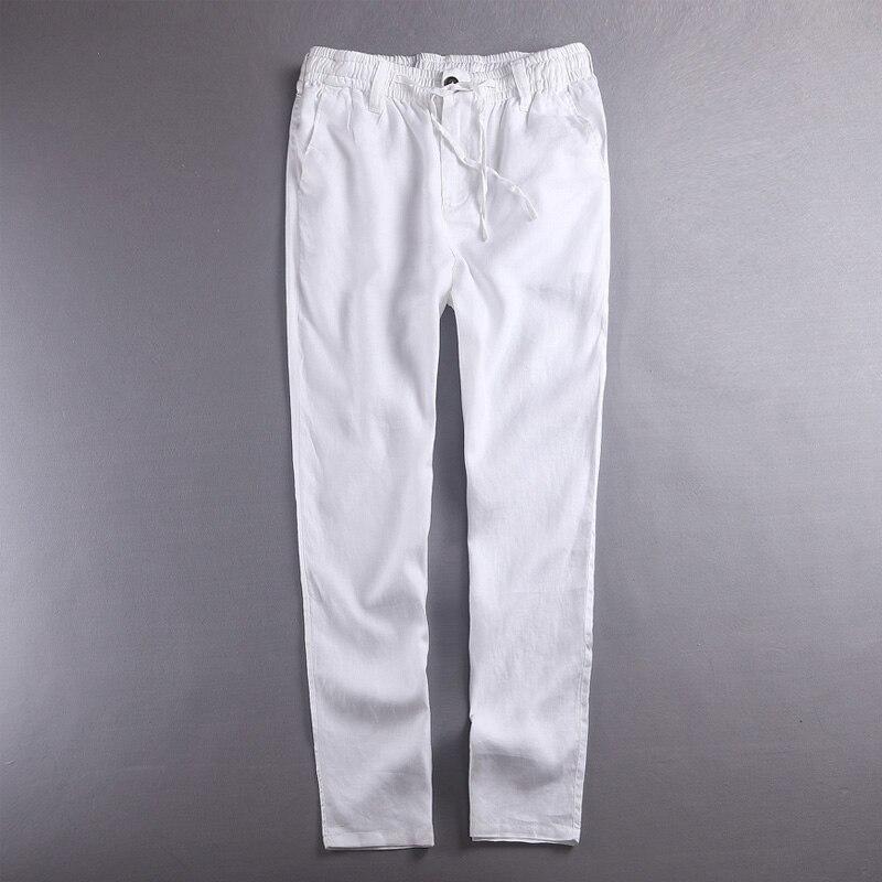100% Linen pants men summer pure flax mens pants solid white trouser men fashion spring fall trousers male brand pantalon hombre