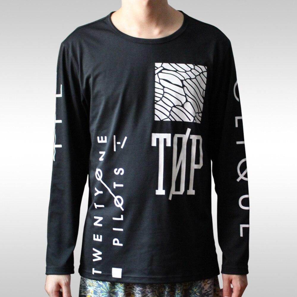 Twenty One Pilots Print Men T Shirt Long Sleeve Slim O Neck