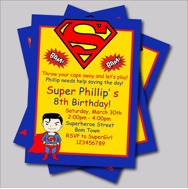 20 Pcs/lot Personalized Superman Birthday Invitations Kids