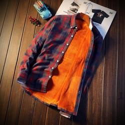 2018 Shirt Men Plaid Flannel Shirts Mens Casual Autumn Winter Spring Thick Warm Fleece Cotton Long Sleeve Shirt Camisa Masculina 4