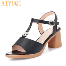 купить AIYUQI Summer sandals women 2019 new women sandals genuine leather peep toe roman sandals high heels fashion footwear women по цене 1772 рублей