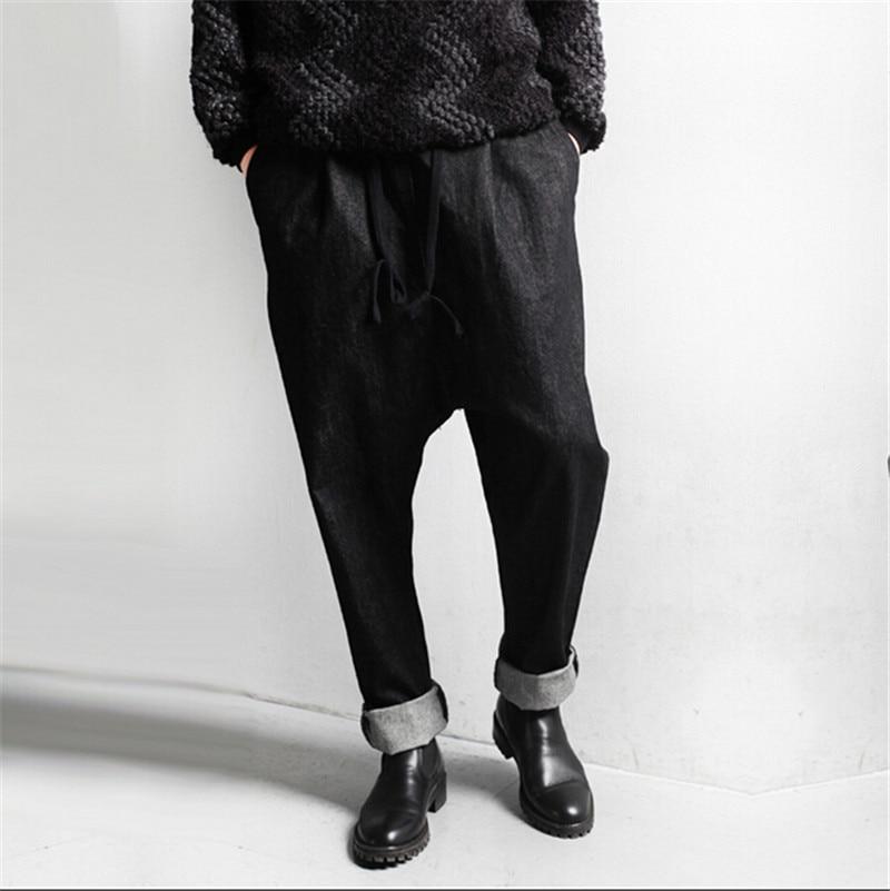 Hip Hop Jeans Men 2016 Baggy Mens Pants Black Flying Jean Homme Plus Size M XXL