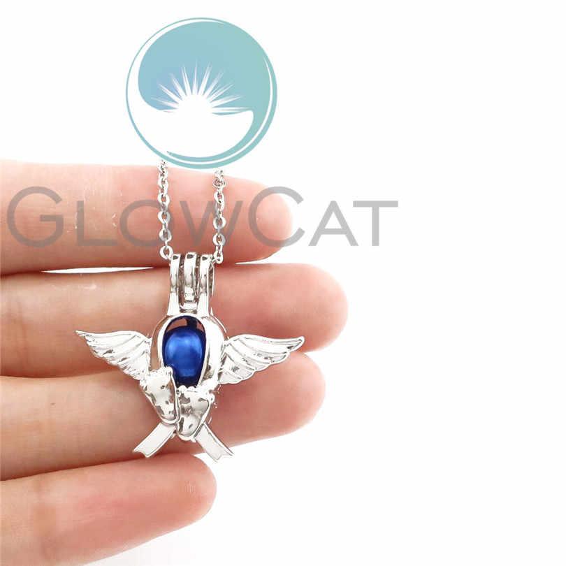 Angel Wing Baby Verlies Awareness Ketting Glow in The Dark 2 Kleuren Lichtgevende Charm Choker Hangers Kettingen Meisje Gift GG697