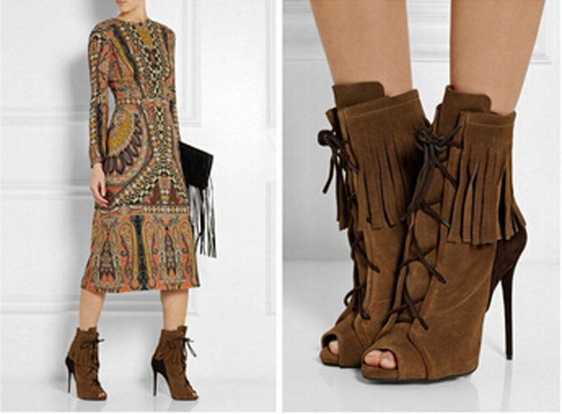 2015 elegant brown suede leather peep toe high heel ankle boots lace up stiletto heel tassel decorastion woman boots front lace up casual ankle boots autumn vintage brown new booties flat genuine leather suede shoes round toe fall female fashion
