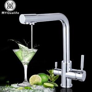 Image 1 - יוקרה Chrome פליז טהור מים מטבח ברז כפול ידית חמה וקר לשתיית מים 3 דרך מסנן מטבח מיקסר ברזים