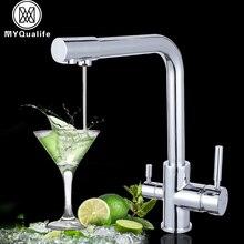 Luxury Chromeทองเหลืองบริสุทธิ์ก๊อกน้ำห้องครัวก๊อกน้ำDual Handleร้อนและเย็นน้ำดื่ม 3 WayกรองครัวMixerก๊อก
