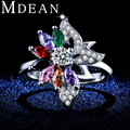 MDEAN Colorful Zircon Jewelry White Gold Plated Engagement fashion Rings For Women luxury Bague Accessories MSR363