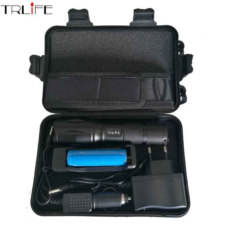 6000 Lumens Flashlight CREE XM-L2/T6 Torch High Power Adjustable LED Flashlight +DC/Car Charger+18650 Battery+Holster Holder