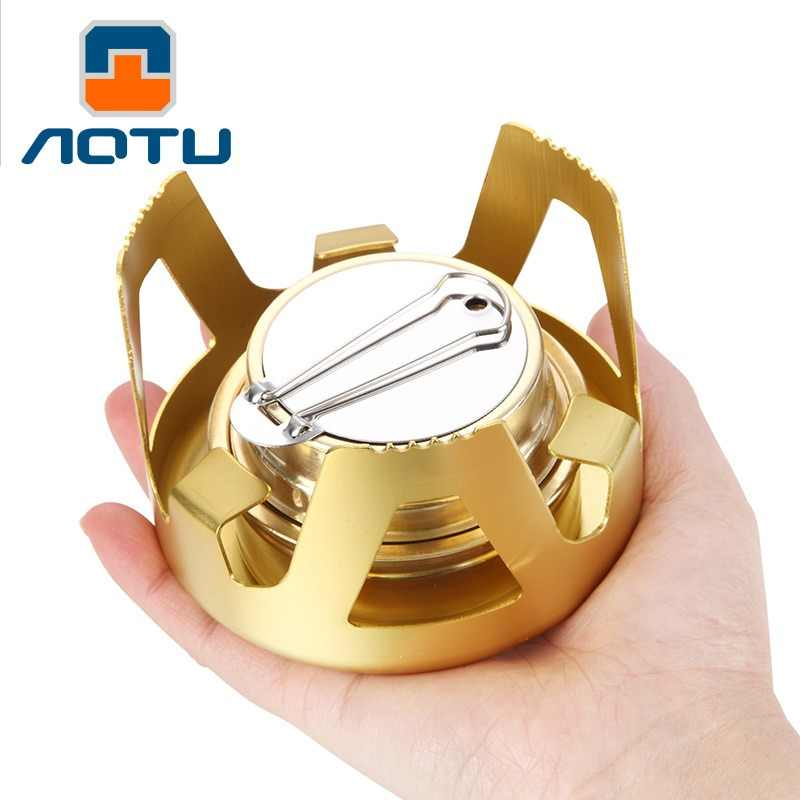 AOTU Alcohol stove portable Lightweight camping stove Mini Pocket gas-burner outdoor liquid windproof stove Field survival tool