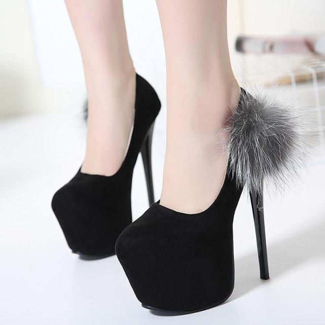 The new high heeled shoes with fine Suede sexy shallow mouth shoes Fox fur shoes