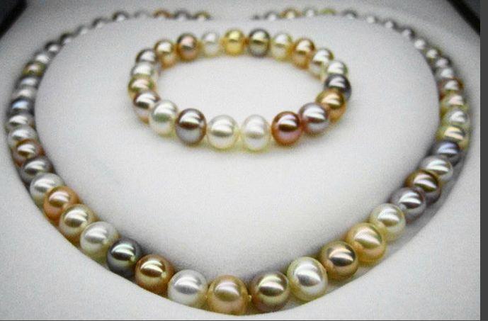 Un insieme di 11-12mm rond south sea multicolor collana di perle e braccialetto in argento 925Un insieme di 11-12mm rond south sea multicolor collana di perle e braccialetto in argento 925