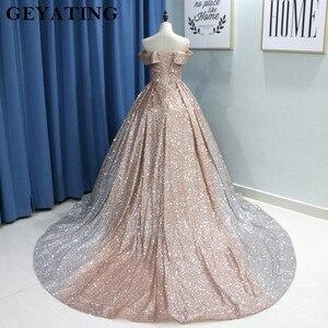 Image 3 - Świecący Ombre szampana srebrny cekin suknie balowe 2020 dubaj Glitter suknia balowa Party Dress Sweetheart sąd pociąg suknie wieczorowe