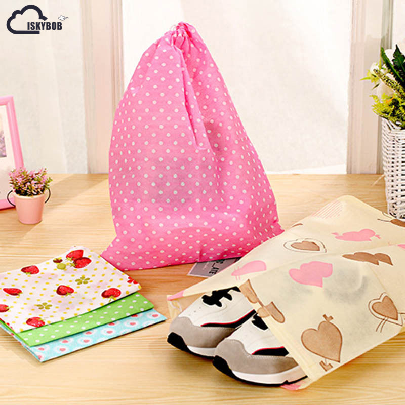 1PCS Colourful Portable Shoes Bag Travel Storage Pouch Drawstring Dust Bags Luggage Organizer Travel Accessories