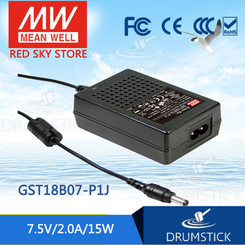(Only 11.11)MEAN WELL GST18B07-P1J (6Pcs) 7.5V 2A meanwell GST18B 7.5V 15W AC-DC High Reliability Industrial Adaptor