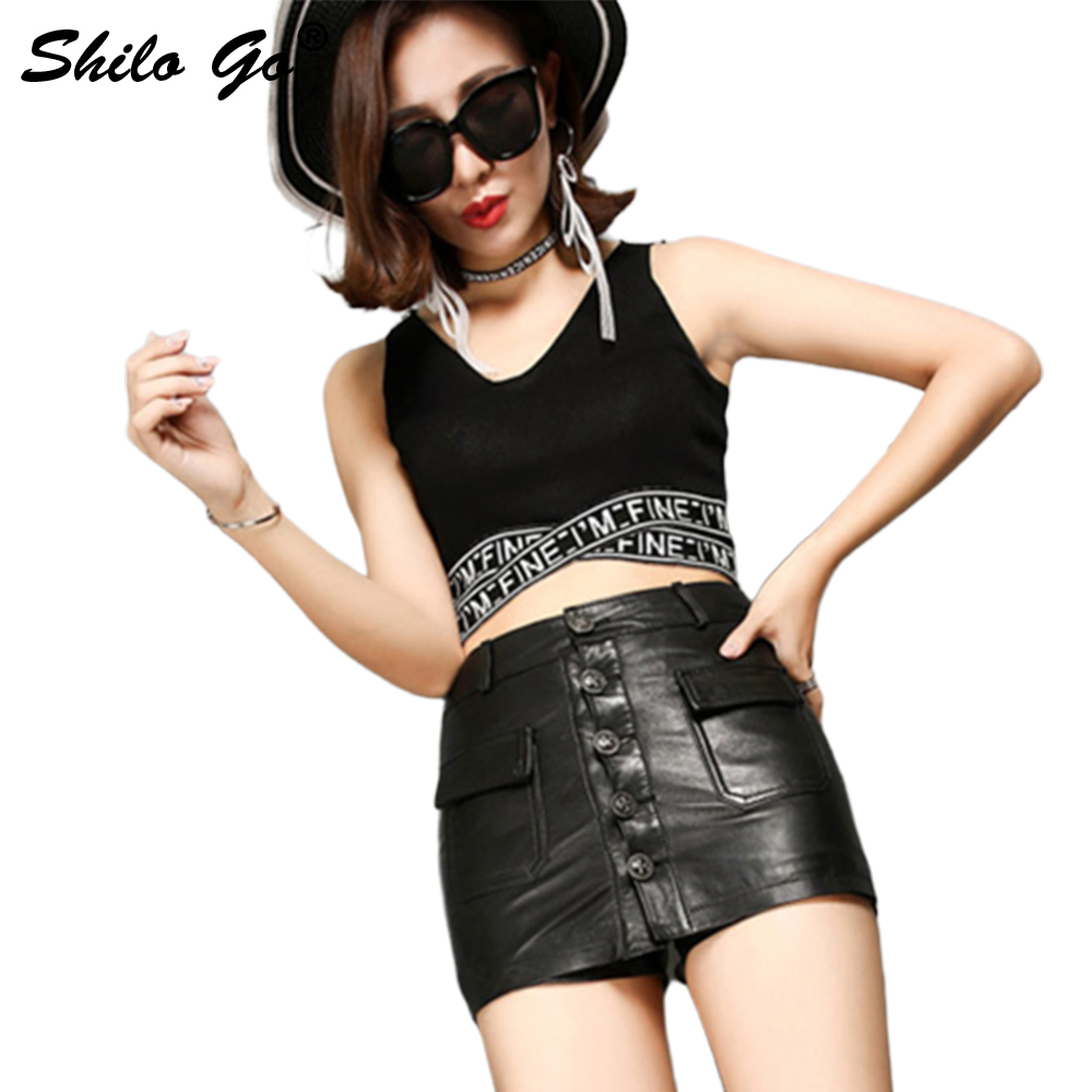 Leather Shorts Womens Autumn Fashion Sheepskin Genuine Leather Shorts High Waist Single Breasted Hot Pencil Shorts