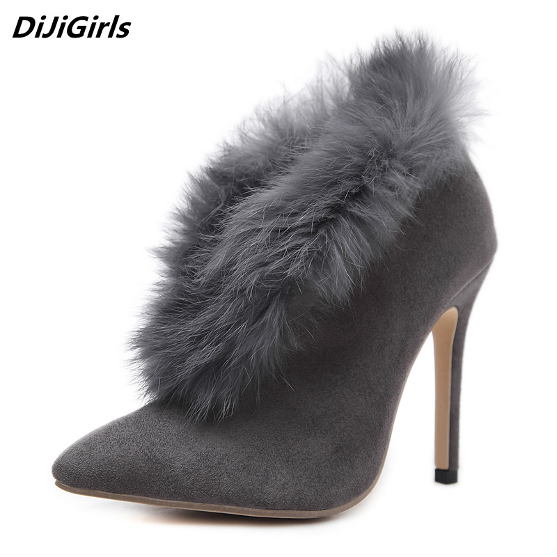 DiJiGirls sexy women autumn winter boots fur ankle boots heels faux suede black gray pointed toe boots women shoes botas mujer 9 famiao women boots sexy high heel zapatos mujer tacon 2017 gary black buckle ankle boots for women shoes pointed toe winter