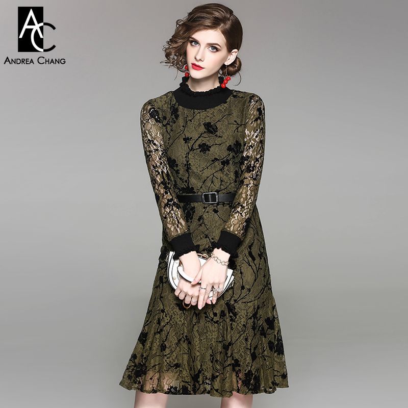 Autumn Spring Woman Dress Black Floral Pattern Army Green Brown Lace