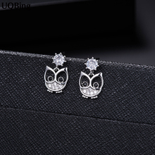 New Arrivals 925 Sterling Silver CZ Owl Stud Earrings For Women Jewelry Pendientes Brincos Free Ship
