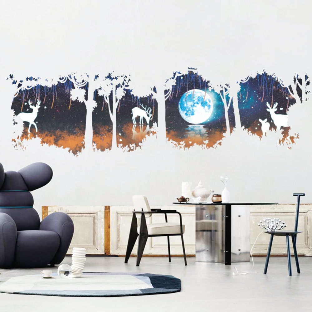 huge tree forest deer elk moon lake wall decals living room office home decor animal wall stickers diy mural art pvc poster