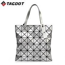 Mit Logo Neue Frauen BAOBAO Tasche Geometrie Paket Pailletten Spiegel Saser Einfachen Klapp Handtaschen Damen Umhängetaschen 6*6