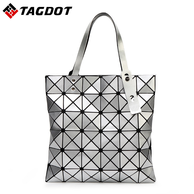 a955bfd8a9 With Logo New Women BAOBAO Bag Geometry Package Sequins Mirror Saser Plain  Folding Handbags Fashion Ladies