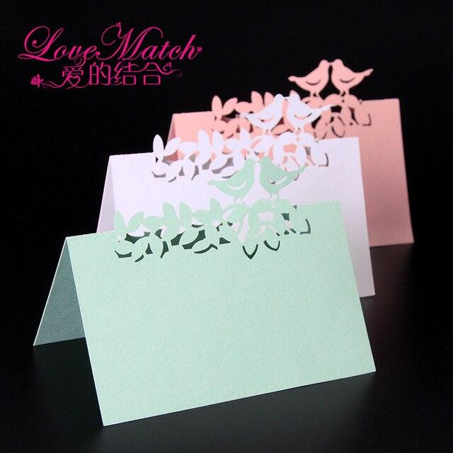 40pcs Love Birds Laser Cut Wedding Favors Table Name Cards Place