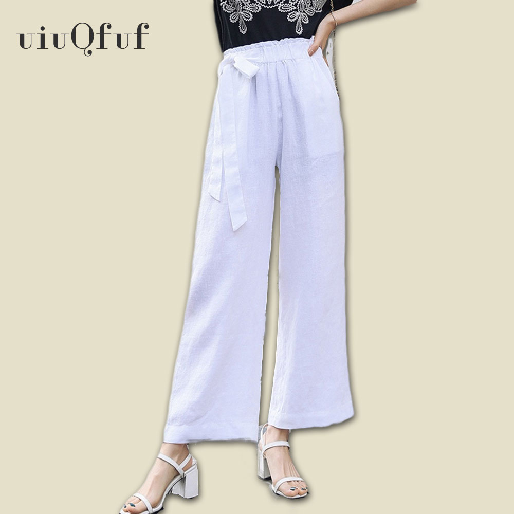 Casual Cotton Linen   Wide     Leg     Pants   Holiday Elastic Waist   Pants   Summer Woman 2019 Solid Lace Up Bow Women's Summer Trousers
