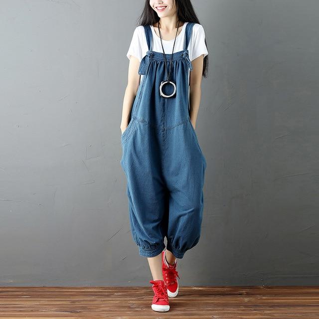 37d8525c0222 New Spring Women Wide Leg Pants Ripped Denim Overalls Casual Jumpsuit  Boyfriend Style Pockets Loose Romper Trousers Plus Size