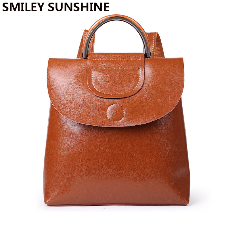 SMILEY SUNSHINE women leather backpack female genuine leather backpacks for girls bagpack ladies shoulder <font><b>bag</b></font> mochilas feminina