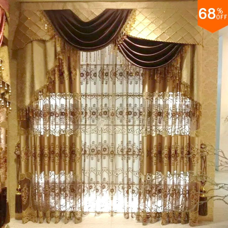 new Dubai Luxury magnetic drapry for living room golden embroidery door curtain hotel curtains ancient times for the kind super!