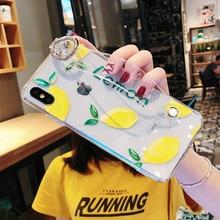 fruit wristband tpu case for iphone 8 7 6 6s plus XS MAX XR X case cover lemon orange holder transparent soft protective phone b цена