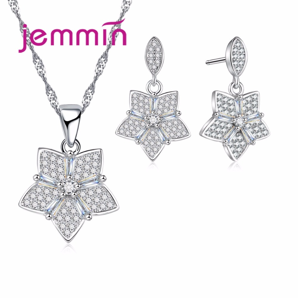 Jemmin Top Quality Authentic 925 Sterling Silver Jewelry Necklace Earrings Sets Romantic Sweat Flower Jewelry Bijoux for Women