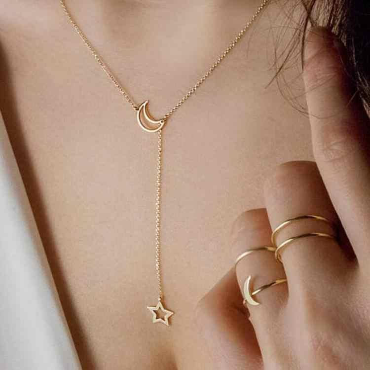 韓国のファッションジュエリームーンスター鎖骨チェーン女性の短いネックレスジュエリーアクセサリー卸売ネックレス&ペンダント