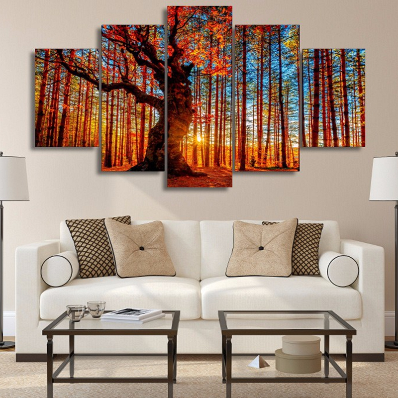 Wall Art Canvas HD Prints Poster Home Decor Room Pictures 5 Pieces Forest Sky Trees Autumn Foliage Landscape Paintings Framework