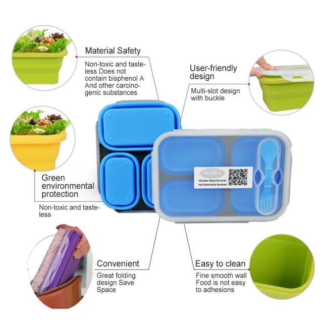Food Grade Silicone Microwave 3-Compartments Bento Lunch Box Set For Kids Lunchbox Microwaveable Bento Box For Adults