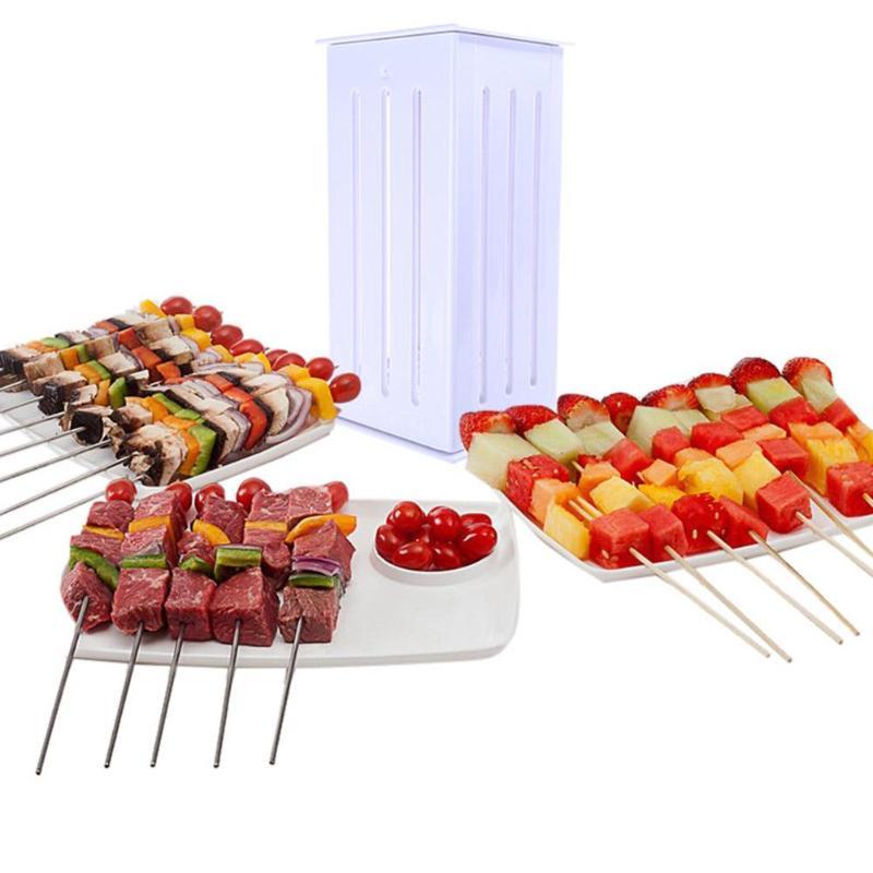 Easy Barbecue Kebab Maker Meat Brochettes Skewer Machine BBQ Accessories Tools Set Meat Skewer Machine with 16 Skewers