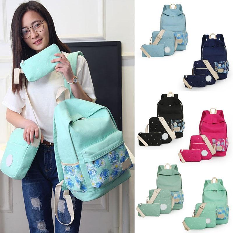 3pcs set Printing Backpack Women School Bags Canvas Chrysanthemum Prints For Teenage Girls 88 WML99