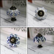 34 мм синий лист ручная роспись Керамическая Тыква спальня шкаф ручки для шкафа двери ящика мебель ручки тянет