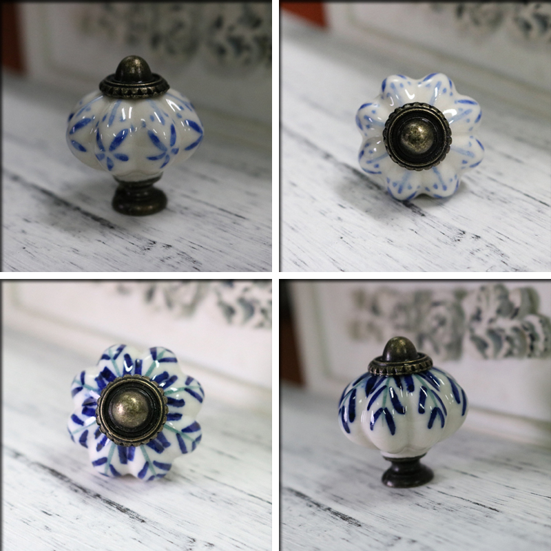 New 34mm Blue Leaf Hand Painted Ceramic Pumpkin Bedroom Cupboard Cabinet Knobs Door Drawer Furniture Handle Pulls