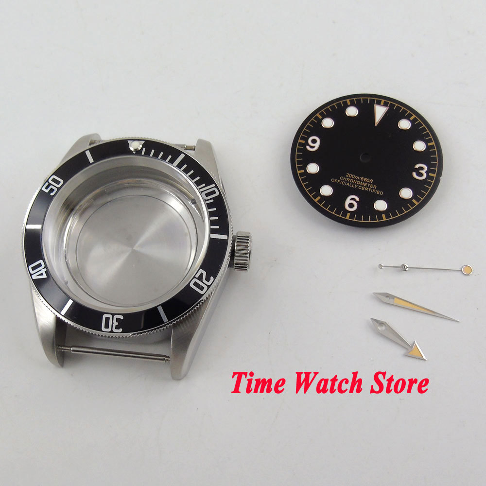 Fit ETA 2836 mouvement 41mm boîtier de montre saphir verre noir lunette 316L boîtier en acier inoxydable pour montre + cadran + aiguilles C147