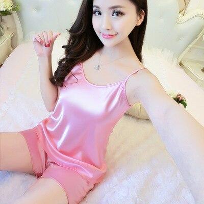 Women Sexy Satin   Pajamas     Set   Solid Spaghetti Straps Cami And Shorts Pijama   Set   Bridal Sleepwear   Sets   Summer Girls Cute Home W